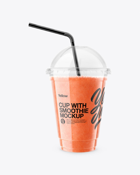 Watermelon Smoothie Cup with Straw Mockup