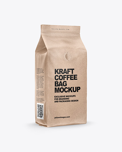 Kraft Coffee Bag with Valve Mockup - Half Side View