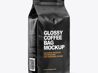 Glossy Coffee Bag Mockup -  Half Side View
