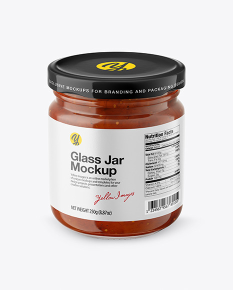 Fig Jam Glass Jar Mockup – Front View (High Angle Shot)