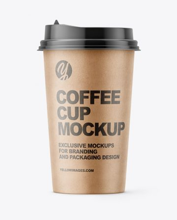 Kraft Paper Coffee Cup Mockup - Front View