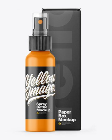 Matte Spray Bottle w/ Box Mockup
