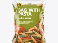 Plastic Bag With Tricolor Pennoni Rigati Pasta Mockup