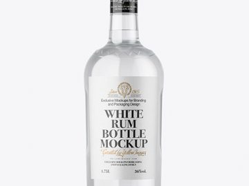 Clear Glass White Rum Bottle Mockup
