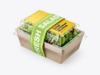 Salad Container Box Mockup - Half Side View
