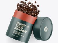 Glossy Paper Tube W/ Coffee Mockup