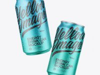 Two Matte Metallic Cans Mockup