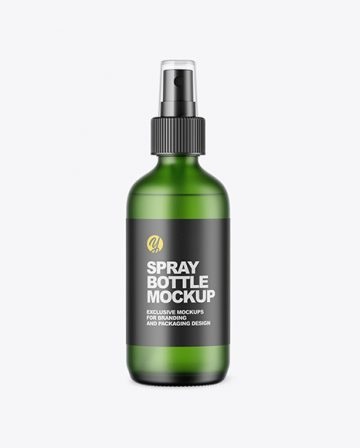 Frosted Green Glass Spray Bottle Mockup