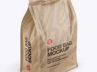 Kraft Food Bag Mockup -Half Side View (High Angle Shot)