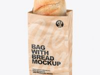 Paper Bag With Bread Mockup