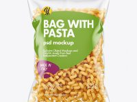 Plastic Bag With Cavatappi Pasta Mockup
