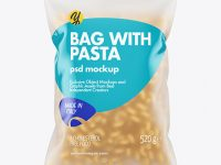 Frosted Plastic Bag With Cavatappi Pasta Mockup