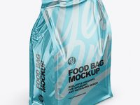 Glossy Metallic Food Bag Mockup -Half Side View (High Angle Shot)