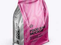 Matte Metallic Food Bag Mockup -Half Side View (High Angle Shot)