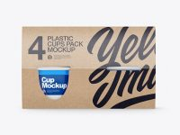 4 Plastic Cups Kraft Paper Pack Mockup – Front View