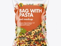 Plastic Bag With Tricolor Cavatappi Pasta Mockup