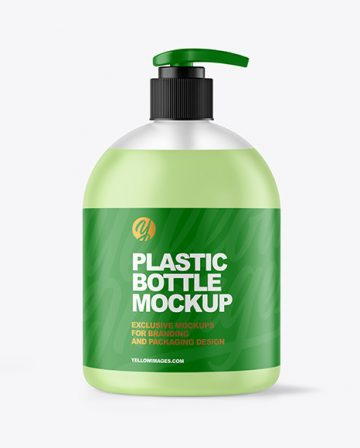 Frosted Liquid Soap Bottle with Pump Mockup