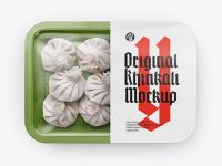 Plastic Tray With Khinkali Mockup