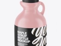 Glossy Plastic Maple Syrup Bottle Mockup - Front View (High-Angle Shot)