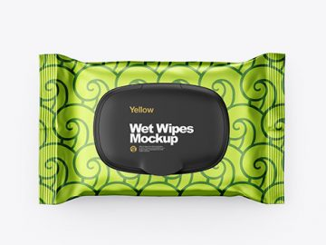 Metallic Wet Wipes Pack With Plastic Cap Mockup - Top View