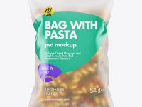 Frosted Plastic Bag With Tricolor Cavatappi Pasta Mockup