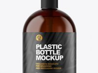 Amber Plastic Bottle with Pump Mockup