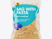 Frosted Plastic Bag With Fusilli Pasta Mockup