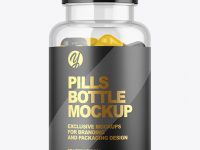 Clear Pills Bottle with Flip Top Cap Mockup
