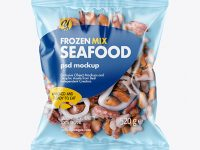 Plastic Bag With Frozen Seafood Mix Mockup