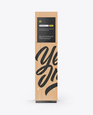 Wooden Stand With Poster Mockup