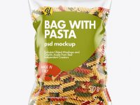 Plastic Bag With Tricolor Fusilli Pasta Mockup