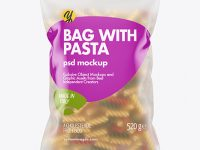 Frosted Plastic Bag With Tricolor Fusilli Pasta Mockup