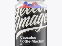 Clear Glass Bottle with Capsules Mockup - Front View
