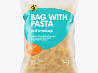 Frosted Plastic Bag With Farfalle Pasta Mockup