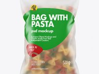 Frosted Plastic Bag With Tricolor Farfalle Pasta Mockup