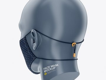 Face Mask with Elastic Cord and Stopper - Back Half-Side View