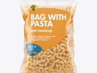 Matte Plastic Bag With Chifferini Rigati Pasta Mockup