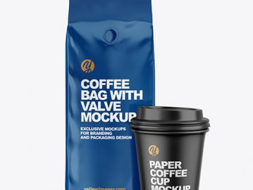 Glossy Coffee Bag with Cup Mockup