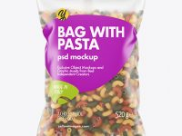 Matte Plastic Bag With Tricolor Chifferini Rigati Pasta Mockup