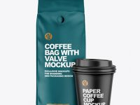 Matte Coffee Bag with Cup Mockup
