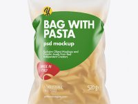 Frosted Plastic Bag With Penne Pasta Mockup