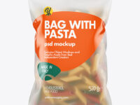 Frosted Plastic Bag With Tricolor Penne Pasta Mockup