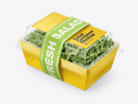 Salad Container Box with Arugula Mockup - Half Side View