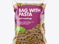 Whole Wheat Fusilli Pasta Bag Mockup
