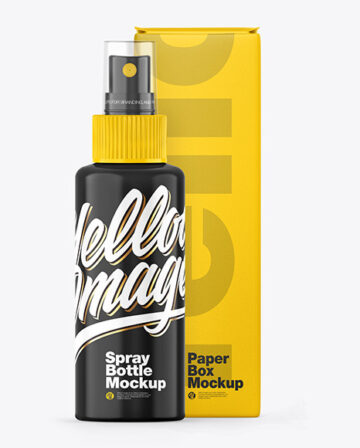 Glossy Spray Bottle w/ Box Mockup