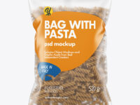 Whole Wheat Fusilli Pasta Matte Bag Mockup