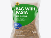 Whole Wheat Fusilli Pasta Frosted Bag Mockup
