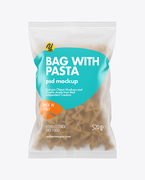 Whole Wheat Farfalle Pasta Frosted Bag Mockup
