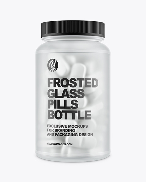 Frosted Glass Bottle with Pills Mockup - Front View