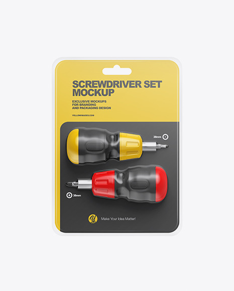 Screwdriver set with Blister Pack Mockup - Front View